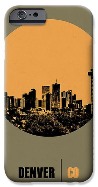 Denver Colorado iPhone Cases - Denver Circle Poster 2 iPhone Case by Naxart Studio