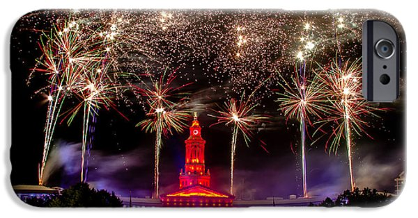 4th July Photographs iPhone Cases - Denver CO 4th of July Fireworks iPhone Case by Teri Virbickis