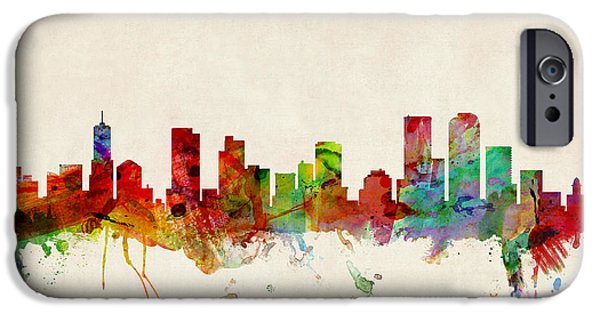 United iPhone Cases - Denver Colorado Skyline iPhone Case by Michael Tompsett