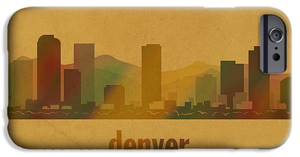 Denver Colorado iPhone Cases - Denver Colorado Skyline Watercolor On Parchment iPhone Case by Design Turnpike