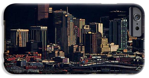 City Scape Digital Art iPhone Cases - Denver Digital Art iPhone Case by Ernie Echols