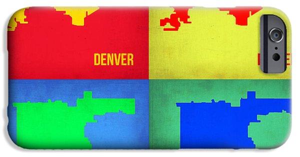 Denver iPhone Cases - Denver Pop Art Map 1 iPhone Case by Naxart Studio