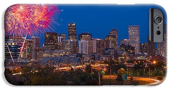 Fireworks iPhone Cases - Denver Skyline Fireworks iPhone Case by Steve Gadomski