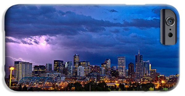Sunset iPhone Cases - Denver Skyline iPhone Case by John K Sampson