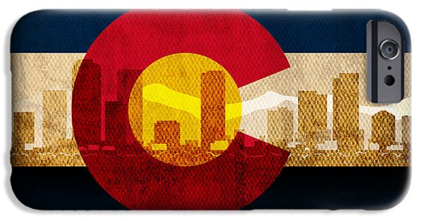 Denver Colorado iPhone Cases - Denver Skyline Silhouette of Colorado State Flag Canvas iPhone Case by Design Turnpike