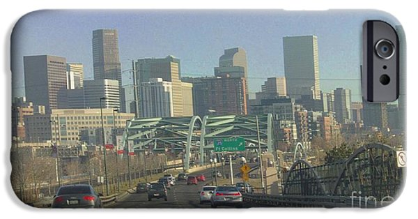 Speer iPhone Cases - Denver Skyline View East from Speer 12 10 2011 iPhone Case by Feile Case