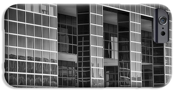 Buildings Mixed Media iPhone Cases - Denver Skyscraper Reflections 2 BW iPhone Case by Angelina Vick