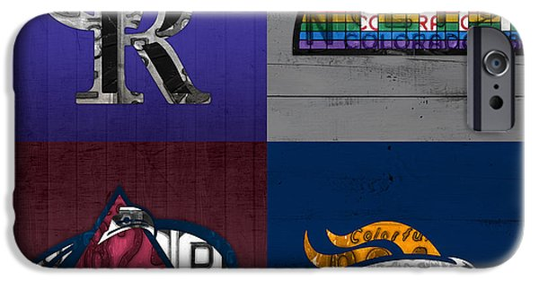 Colorado Mixed Media iPhone Cases - Denver Sports Fan Recycled Vintage Colorado License Plate Art Rockies Nuggets Avalanche Broncos iPhone Case by Design Turnpike
