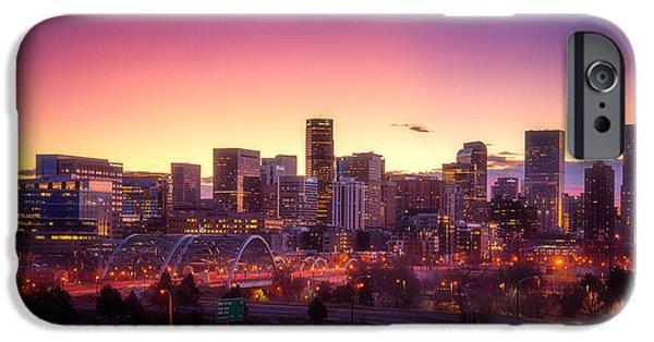 Colorado Framed Prints iPhone Cases - Denver Sunrise iPhone Case by Darren  White