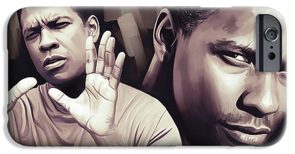 Celebrities Art iPhone Cases - Denzel Washington Artwork iPhone Case by Sheraz A