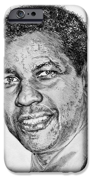 African-american Drawings iPhone Cases - Denzel Washington in 2009 iPhone Case by J McCombie