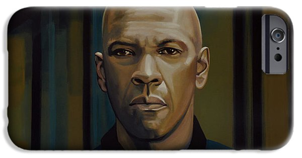 Drama Paintings iPhone Cases - Denzel Washington The Equalizer iPhone Case by Paul Meijering