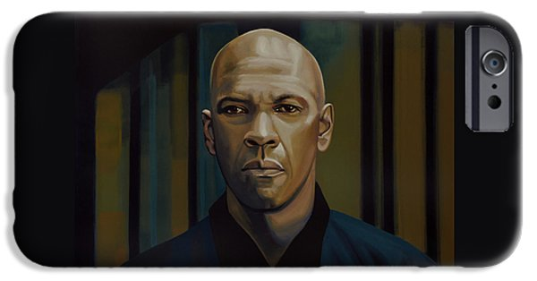 Flight Paintings iPhone Cases - Denzel Washington The Equalizer iPhone Case by Paul Meijering