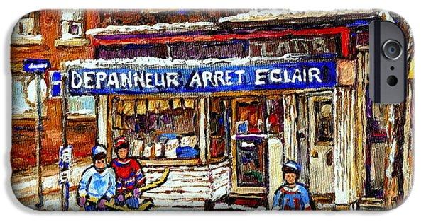 Depanneur iPhone Cases - Depanneur Arret Eclair Verdun Rue Wellington Montreal Paintings Original Hockey Art Sale Commissions iPhone Case by Carole Spandau