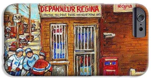 Depanneur iPhone Cases - Depanneur Regina Verdun Winter Street Scene Hockey Paintings South West Montreal Stores Hockey Art  iPhone Case by Carole Spandau
