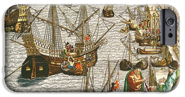 Christopher Columbus iPhone Cases - Departure from Lisbon for Brazil iPhone Case by Theodore de Bry