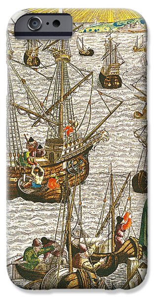 Departure from Lisbon for Brazil iPhone Case by Theodore de Bry