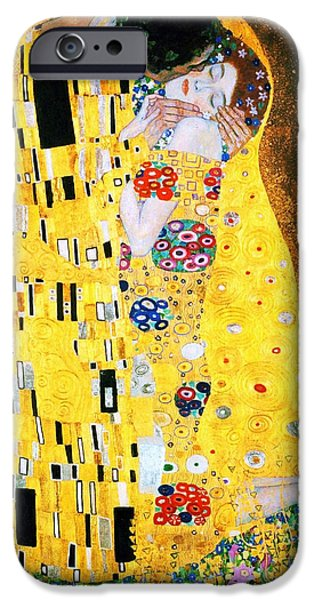 Austrian iPhone Cases - Der Kuss or The Kiss by Gustav Klimt iPhone Case by Pg Reproductions