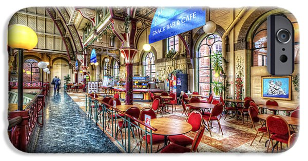 Snack Bar iPhone Cases - Derby Market Hall Cafe iPhone Case by Yhun Suarez