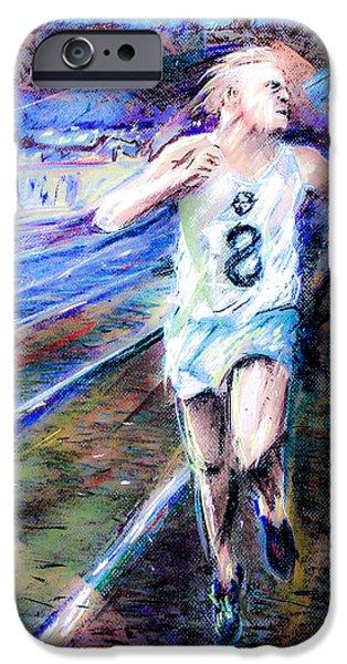 Tracks Pastels iPhone Cases - Derek Ibbotson Worlds Record Holder in Mile Run iPhone Case by Dariusz Janczewski