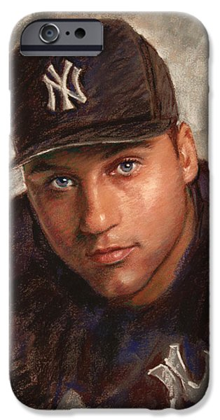 World Series iPhone Cases - Derek Jeter iPhone Case by Viola El