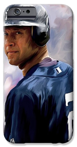 Jeter iPhone Cases - Derek Jeter III iPhone Case by Iconic Images Art Gallery David Pucciarelli