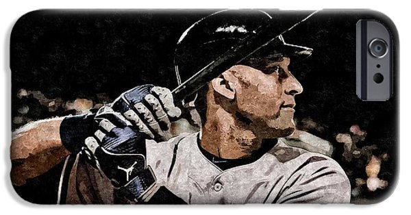 Mlb iPhone Cases - Derek Jeter on Canvas iPhone Case by Florian Rodarte