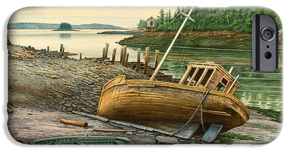 Maine Landscapes Paintings iPhone Cases - Derelict Boat iPhone Case by Paul Krapf