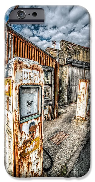 Rust iPhone Cases - Derelict Gas Station iPhone Case by Adrian Evans
