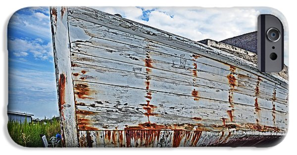 Final Resting Place iPhone Cases - Derelict Workboat in Greenbackville iPhone Case by Bill Swartwout