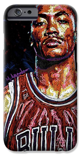 Hoops iPhone Cases - Derrick Rose-2 iPhone Case by Maria Arango