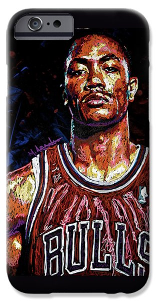 Chicago Paintings iPhone Cases - Derrick Rose-2 iPhone Case by Maria Arango