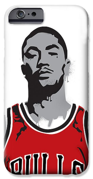 Painted Mixed Media iPhone Cases - Derrick Rose iPhone Case by Mike Maher