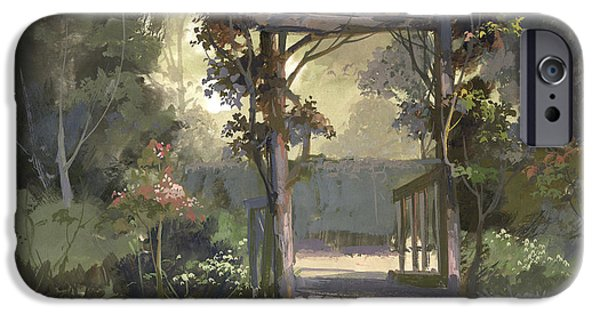 Pastel Paintings iPhone Cases - Descanso Gardens iPhone Case by Michael Humphries