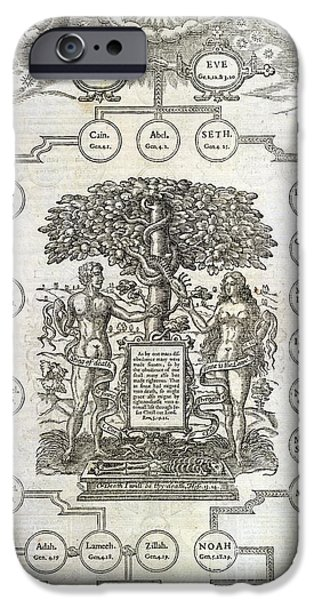 Genealogy iPhone Cases - Descendants Of Adam And Eve, Artwork iPhone Case by British Library