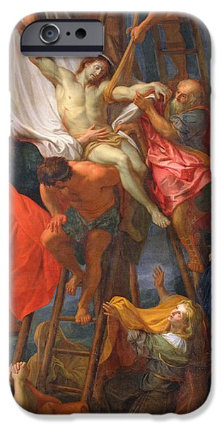 Disciples Paintings iPhone Cases - Descent from the Cross iPhone Case by Charles Le Brun