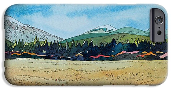 Pen And Ink iPhone Cases - Deschutes River View iPhone Case by Terry Holliday