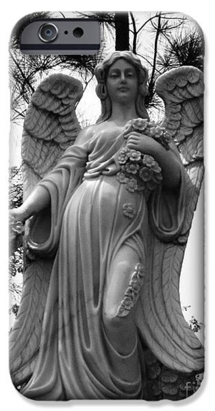 Usa Sculptures iPhone Cases - Descending Angel With Flowers iPhone Case by Nathan Little