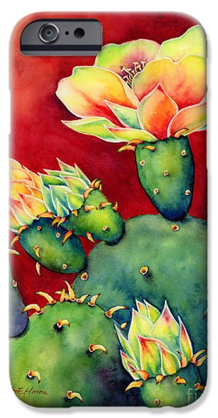 Cacti iPhone Cases - Desert Bloom iPhone Case by Hailey E Herrera