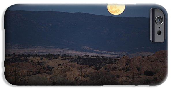 Watson Lake iPhone Cases - Desert Full Moon iPhone Case by Phyllis Bradd