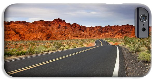 Red Rock iPhone Cases - Desert Highway iPhone Case by Mike  Dawson