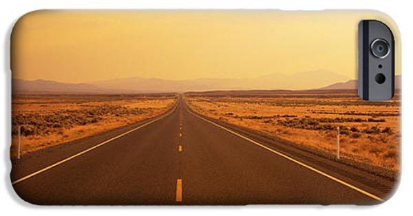 Mountain Road iPhone Cases - Desert Highway, Nevada, Usa iPhone Case by Panoramic Images