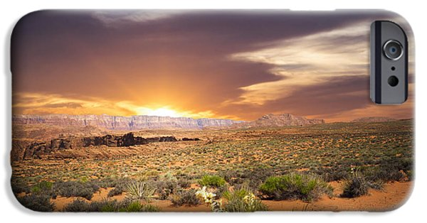 Red Rock Mixed Media iPhone Cases - An evening in the desert iPhone Case by Aged Pixel