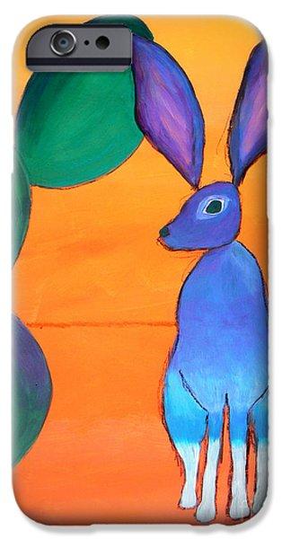 Barrel Paintings iPhone Cases - Desert Jackrabbit iPhone Case by Karyn Robinson