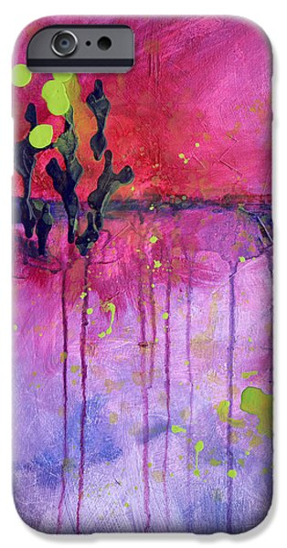 Free Form Paintings iPhone Cases - Desert Landscape Abstract iPhone Case by Nancy Merkle