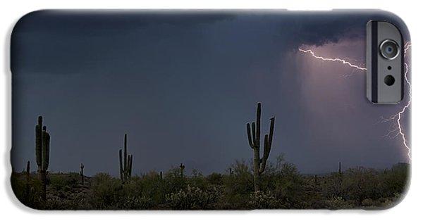 Natural Forces iPhone Cases - Desert Lightning  iPhone Case by Saija  Lehtonen