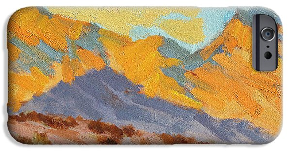 Moon Light iPhone Cases - Desert Morning La Quinta Cove iPhone Case by Diane McClary
