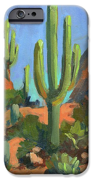Morning iPhone Cases - Desert Morning Saguaro iPhone Case by Diane McClary