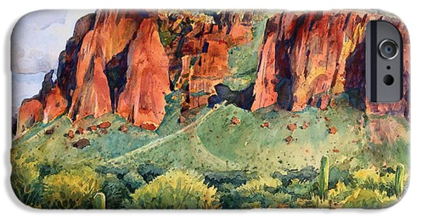 Red Rock Drawings iPhone Cases - Desert Mountain Highlands iPhone Case by Kent Looft