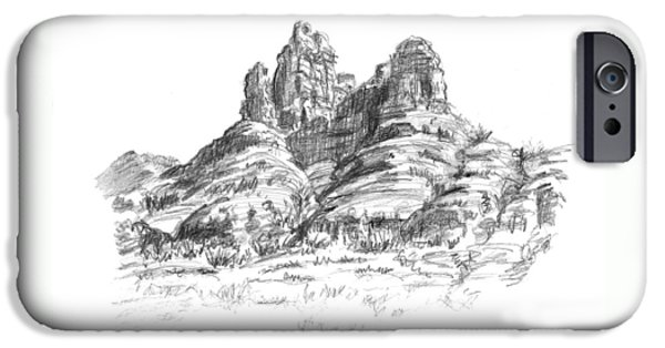 Grand Canyon Drawings iPhone Cases - Desert Mountains iPhone Case by Sarah Parks